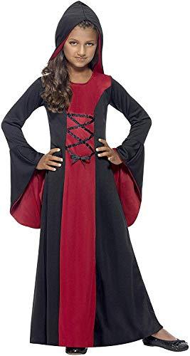 Halloween! Smiffys Kostüm Vamp, Rot und Schwarz, mit Kleid und Kapuze, Schnürdetail