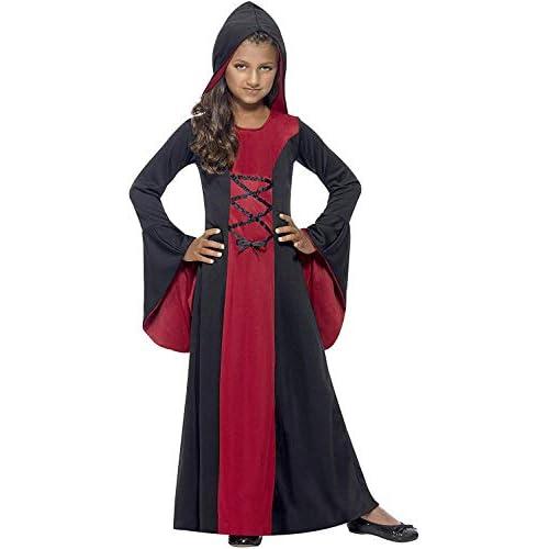 SMIFFYS Costume Vamp, Rosso e Nero, comprende Abito e Cappuccio, Dettaglio Allacciatura