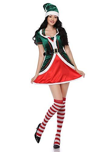 STRTG Disfraz de elfo adulto Mujer Hombre Navidad Disfraces de ayudante de Pap Noel Cosplay Disfraz Verde Espritu de Navidad Disfraces de elfos para mujer Fiesta de Navidad Cosplay A,L