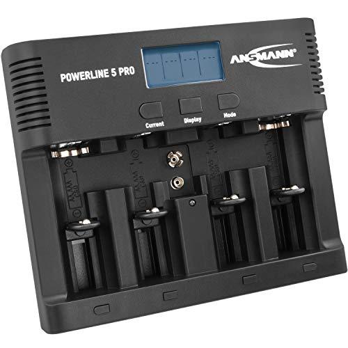 ANSMANN Caricabatterie Powerline 5 Pro - Stazione di ricarica per batterie ricaricabili AAA AA C D E-Block 9V - Caricatore tester pile NiMH porta USB