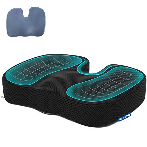 Memory Foam Car Office Seat Cushion for Coccyx with 2 Removable Sciatica Seat Cushion Covers, Updated 3D Breathable Orthopedic Seat Cushion, Tailbone Pain Relief Cushion Wheelchair Car Office Home
