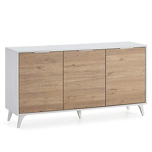 VS Venta-stock Credenza Koln 3 Porte, Color Bianco Spazzolato e Legno, 136,5 cm (Larghezza) 40 cm (profonditá) 72 cm (Altezza)