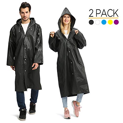 Opret Chubasqueros Impermeable (Paquete de 2), Ponchos Impermeables Capa Lluvia con Mangas y Capucha para Mujer y Hombre, Negro