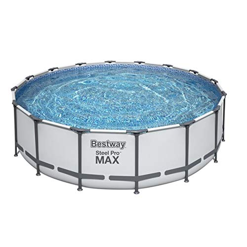Bestway Steel Pro MAX 16 x 4 Foot Outdoor Frame Above Ground Round Swimming Pool Set with Ladder, Cover, Filter Pump, and Replacement Cartridge