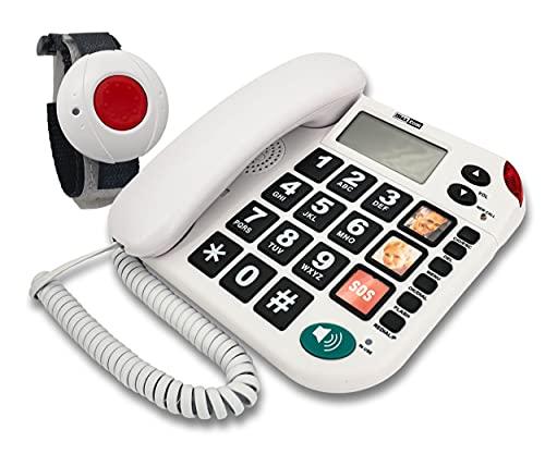 MAXCOM KXT481SOS (G-TELWARE®) Haus-Notruf-Seniorentelefon mit Funk-SOS-Sender, schnurgebundenes Festnetz-Telefon mit 1 Armbandsender, Große Tasten, TAE Stecker, Hörgerätekompatibel