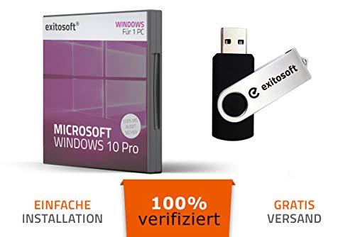 Microsoft Windows 10 Professional Aktivierungsschlüssel - mit USB-Stick von EXITOSOFT - 32/64Bit - Deutsch - 100% verifiziert deutsche Ware - bootfähig - mit AUDIT Zertifikat - PRO