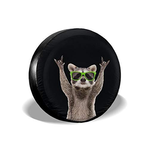 Hitamus Funny Raccoon Spare Tire Cover for Jeep Wrangler RV SUV Camper Travel Trailer Accessories 14 15 16 17 Inch Sunscreen Dustproof Wheel Cover