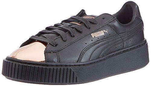 PUMA Damen Basket Platform Metallic Sneaker, Schwarz (Black-Rose Gold), 41 EU