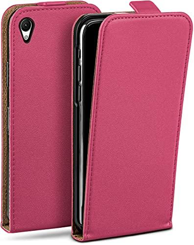 moex Flip Hülle für Sony Xperia Z2 - Hülle klappbar, 360 Grad Klapphülle aus Vegan Leder, Handytasche mit vertikaler Klappe, magnetisch - Pink