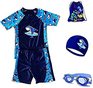 Boys 2 Piece Rash Guard Swimsuits Set with Swim Cap, Goggles, Storage bag 4 in 1 Swimmingware for boys 2-13years