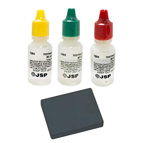 JSP Gold Testing Solutions 10k 14k 18k Kit with Scratch Tester Stone
