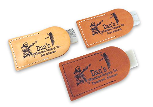 """Bundle- 3 Piece Set of Arkansas Pocket Knife Sharpening Stones Whetstones 3"""" x 1"""" x 1/4"""" in Leather Pouches- Soft (Medium), Hard (Fine) and Translucent (Extra Fine) MAP-13A-L/FAP-13A-L/TAP-13A-L"""