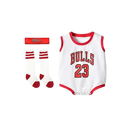 Lvbeis Unisex Trikotset Baby Body NBA Basketball Trikot Ärmellos für Jungen & Mädchen Achselbody Wickelbody Strampler Formender Body,2-White,height-80-90cm