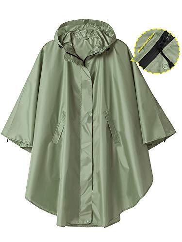 Rain Poncho Jacket Coat Hooded for Adults with Pockets (Green)