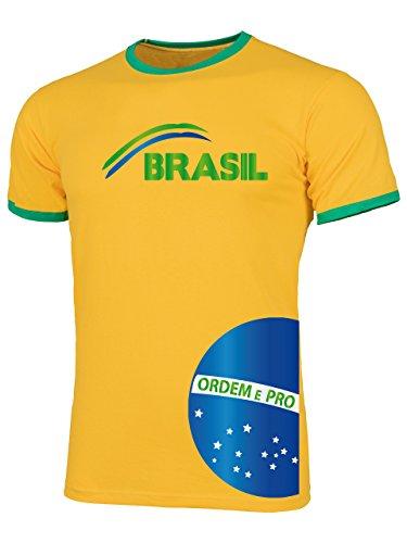 Brasilien Brazil Brasil Fan t Shirt Artikel 3208 Fuss Ball Welt Ringer Tee WM 2022 Trikot Look Flagge Fahne Männer Herren Spieler Team Gaucho M