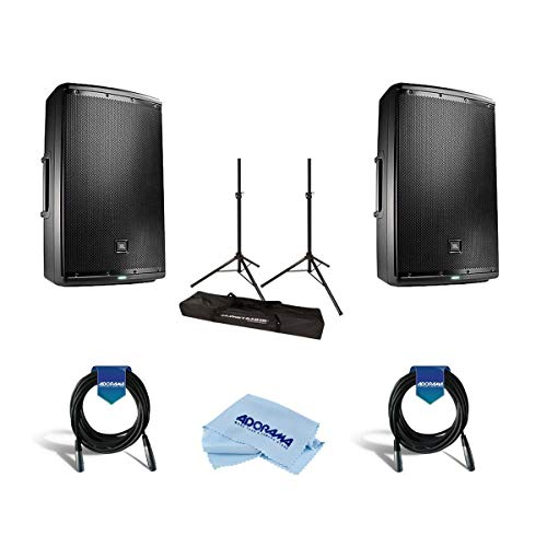 JBL 2 Pack EON615 15in Class D Two-Way Multipurpose Self-Powered Sound Reinforcement Speaker, 50Hz-20kHz, Single - Bundle with Ultimate JamStands JS-TS50 Tripod-Style Speaker Stand 6