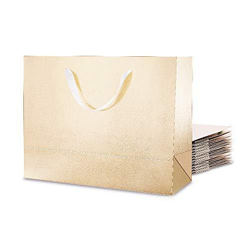 PACKHOME 12 große Geschenktüten 33X12,5x25,5 cm, große Luxus-Taschen mit Griffen (Baumwolle) für alle Gelegenheiten (Champagner-Gold-Prägung)