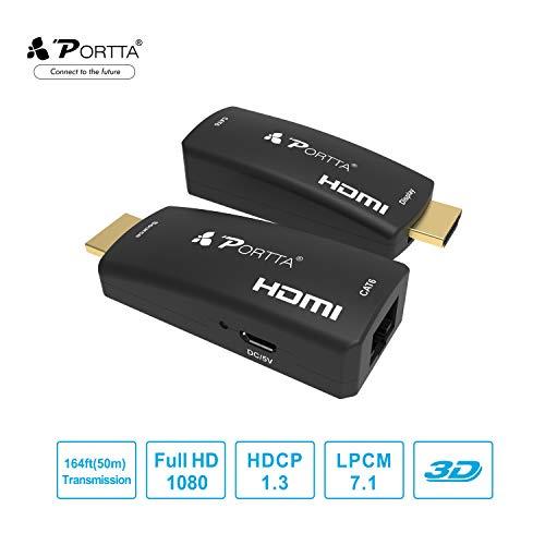 Portta HDMI Extender 50m(164ft) über Einzelnes UTP RJ45 CAT6 Kabel | Verlustfreie Übertragung | Full HD 1080p | Micro USB-Powered | Kein zusätzliches HDMI-Kabel erforderlich | HDMI Sender + Empfänger