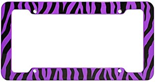 Motorup America Auto License Plate Frame Cover - Fits Select Vehicles Car Truck Van SUV - Wild Purple Zebra Print