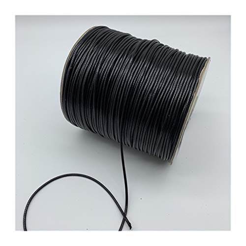 XIAOXINGXING 0.5mm 0.8mm 1mm 1.5mm 2mm Black Waxed Cotton Cord Waxed Thread Cord String Strap Necklace Rope For Jewelry Making (Color : 1, Size : 0.8mm 10yards)