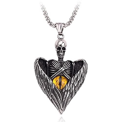 YUNMENG Collar de ala Vintage Cabeza de la Muerte Ojo de Gato Colgante de ópalo ángel Gargantilla en Forma de corazón para Hombres Cadena Adornos de joyería Regalo
