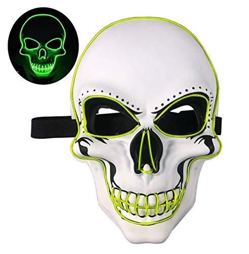 XZHH Led Masker Halloween Night Grimace Neon Cosplay Masker Geglazuurde Jurk Cosplay Masker Horror Masker Groen