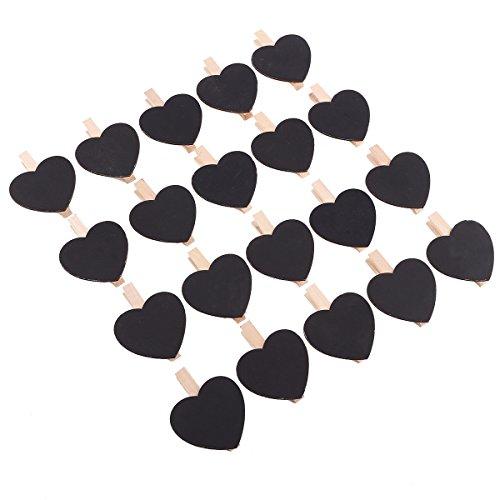 Anladia Mini pinces à craie en bois avec pince à épingle Noir