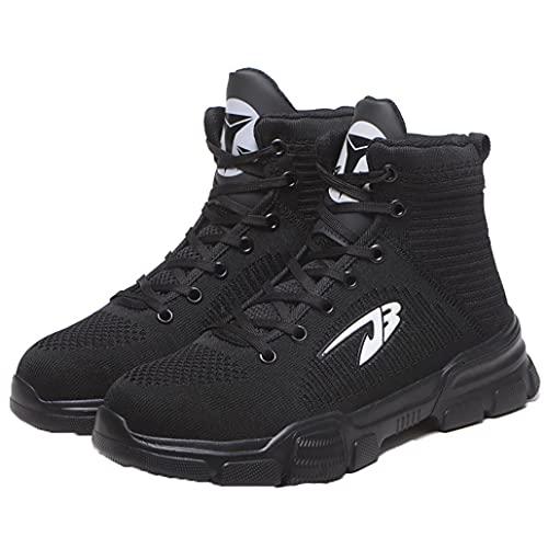 安全靴 作業靴 おしゃれ 軽量 安全靴ハイカット あんぜん靴 作業靴 安全 安全 作業半長靴 ショートブーツあんぜん 鋼先芯 耐摩耗 防刺 耐滑 (907ブラック,30.0cm)