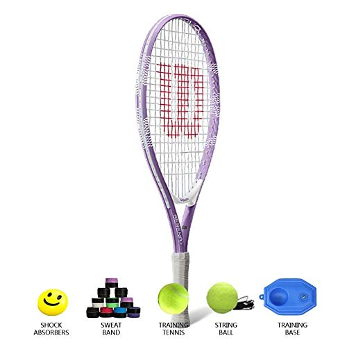 Raqueta De Tenis Juvenil Raquetas De Tenis De 23 Pulgadas para Niños Hombres Y Mujeres De 7-8 Años De Edad Principiante Entrenamiento Individual Raqueta De Tenis Material De Aleación,Purple-23inches