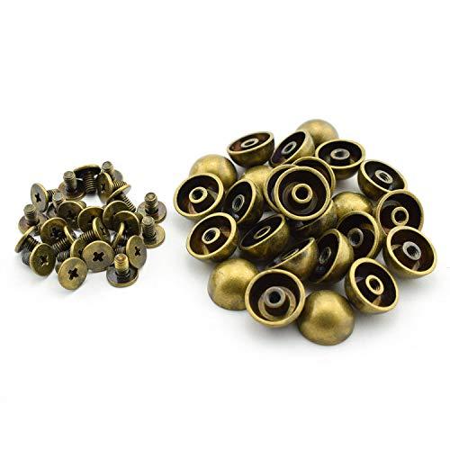 Skyllc® 12mm halbrunde Niet elektrisch vergoldete Bronze Schraube Niet dekorativ für Handtasche Gürtel Armband Leder Tuch