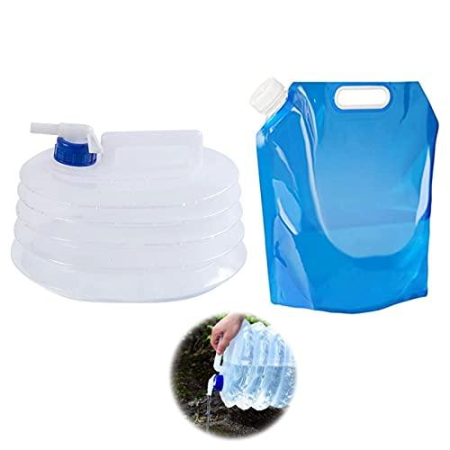 Contenedor Plegable de Agua con Grifo 10l Recipiente de Agua Camping Plegable Bidón Plegable para Agua Bidón de Agua Portátil Cubo de Agua Plegable Bolsa de Agua Plegable para Viajar y Acampar 2pcs