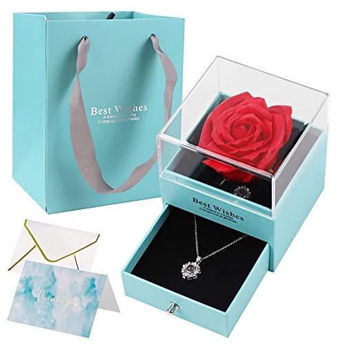 HMGDFUE Rosa Eterna, Rosa Stabilizzata con Ti Amo Confezione Regalo Collana Rosa Regalo per Festa della Mamma, San Valentino, Anniversario di Matrimonio, Compleanno, Anniversario.
