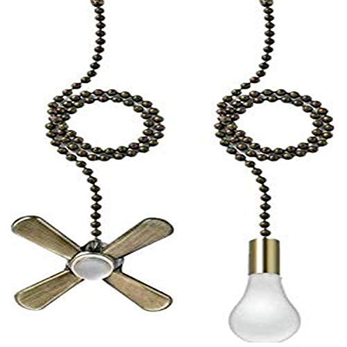 AIIGOU Ceiling Fan Pull Chain Set - 13.6 Inches Fan Pull with Ball Chain Connector Included Light & fan Pulls, Copper