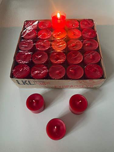 Logumkloster Dänisch Nightlights, Teelichter rot 50er Box transparente Hülle Brenndauer ca. 8 Std.