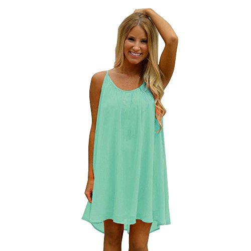 BOLANQ Damen V Ausschnitt A-Linie Kleid Träger Rückenfreies Kleider Sommerkleider Strandkleider Knielang