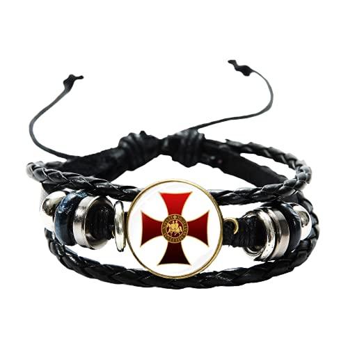 Nuevo Masonic Knights Templario Seal Pulsera de cuero Cruzados Salomones Templo Masonería Tejida a mano Multilayer Hombres Pulsera