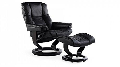 Stressless® Mayfair–Sillón con taburete (M), color negro
