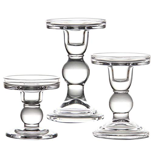 YiSeyruo Mercury Glass Candle Holder: Glass Votive Hurricane Candle Holders Crystal Candlesticks for 3' Pillar Candle 3/4' Taper Candle | 3 Pack 3.25' Diameter Candlestick Holders
