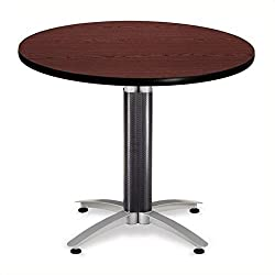 OFM Core Collection 36 Multi-Purpose Round Table with Metal Mesh Base, in Mahogany (KMT36RD-MHGY)