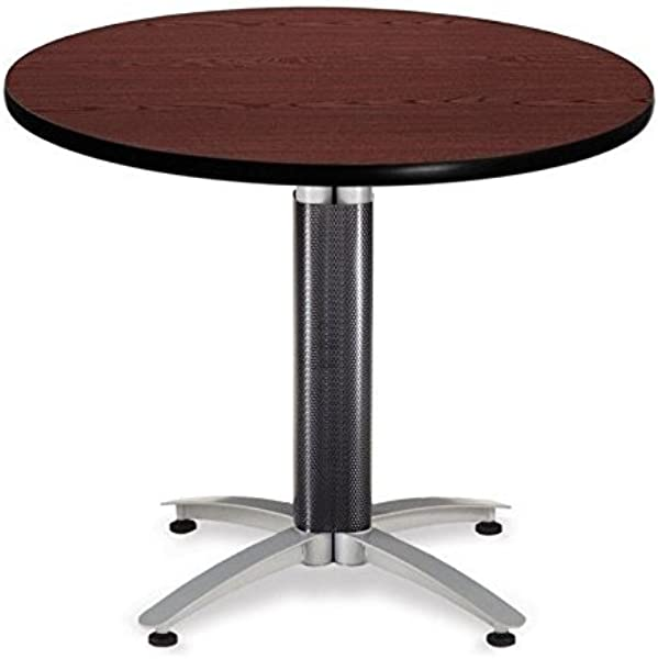 OFM 36 Multi Purpose Round Table With Metal Mesh Base Mahogany MT36RD MHGY