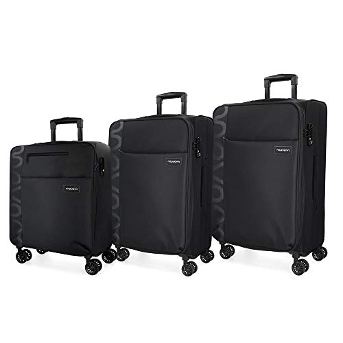 Movom Oslo Juego de maletas Negro 55/69/79 cms Blanda Poliéster Cierre TSA 199L 4 ruedas dobles Equipaje de Mano