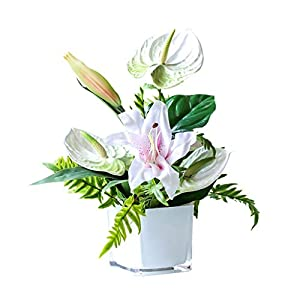 Yyqx Fake Flower Lily Anthurium Artificial Flowers Set for Home Decoration Wedding Bouquet for Fake Flower Faux Living Room Artificial Flowers for Decoration