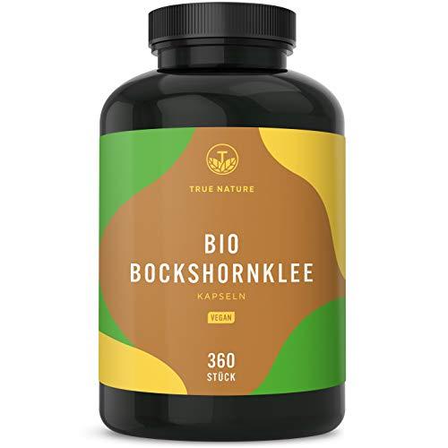 TRUE NATURE® Bio Bockshornklee - 360 Kapseln mit je 500mg - Hochdosiert mit 3.000mg - Hochwertiger Rohstoff aus Ägypten - Ohne Zusatzstoffe - Vegan, Laborgeprüft, Deutsche Produktion