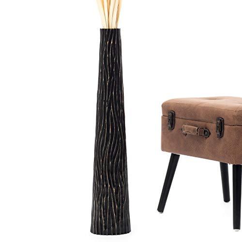 Leewadee jarrón Grande para el Suelo – Florero Alto y Hecho a Mano de Madera exótica, Recipiente de pie para Ramas Decorativas, 75 cm, Negro