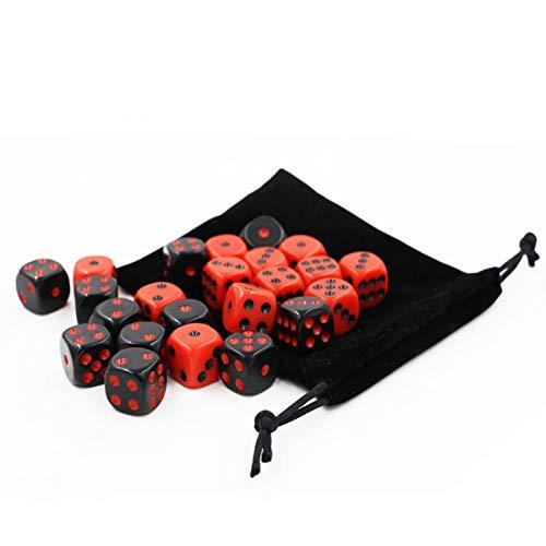 Dados poliédricos 48 PCs / Set Red / Black Dice Set con Bolsa de Terciopelo Dados Accesorios para Juegos de Mesa para la enseñanza de matemáticas