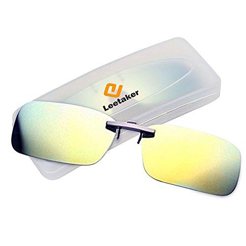 Kisstaker クリップサングラス 偏光クリップ眼鏡 前掛け偏光サングラス クリップオン メガネの上からつけられる ナイトビジョン ナイトビジョンメガネ 偏光サングラス 夜用メガネ 夜用眼鏡 夜釣り 釣り 運転 夜間運転用 昼夜兼用 偏光 偏光眼鏡 ク