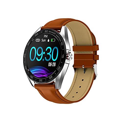 WSJZ Reloj Inteligente,Siéntase Libre De Cambiar El Tema De La Pantalla Táctil,Monitor De Actividad Física con Frecuencia Cardíaca,para iPhone/Android para Mujeres/Hombres,Plata,Leather