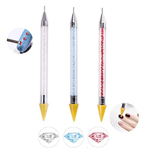 YOTINO 3Pcs Pinceles Uñas Decoracion, 3 Colores Pluma Uñas Strass de Silicona-Blanco, Azul y Rojo, Pincel Uñas Nail Art