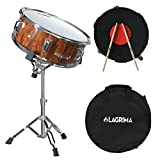 LAGRIMA 14X5.5 inch Snare Drum Set for Student, Beginnerswith Gig Bag, Sticks, Strap, Stand and Practice Pad Kit, Tiger Stripe