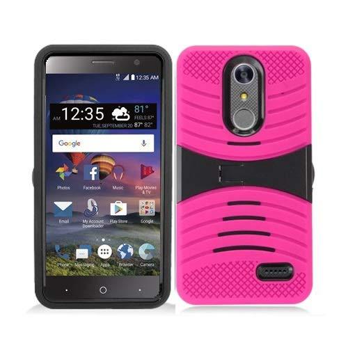 Phone Case for ZTE ZMAX One LTE Z719DL / ZTE Blade Spark 4G AT&T Prepaid Smartphone, ZTE Grand X4 (Cricket Wireless) Case, Heavy Duty Hard Armor Cover Shockproof Case Kickstand (Pink-Black)